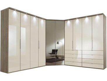 Begehbarer Eckkleiderschrank Magnolie & Schubladen Höhe 236  cm - Tiko - Eck-Kleiderschrank