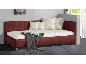 Studioliege 90x200 cm beige mit großem Bettkasten - Nuca - Polsterliege