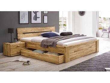 Schubkasten-Massivholzbett 140x200 cm aus geölter Wildeiche - Sumak - Stauraum-Bett