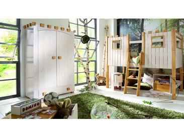 Kleiderschrank Kinderzimmer Ritterburg - weiß mit Holzstruktur - Kinder-Schrank