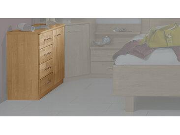 Kommode in Erle natur mit 4 Schubladen und 1 Drehtür - Beyla - Holz-Kommode