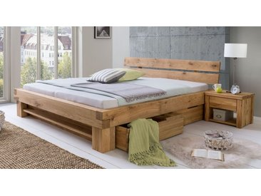 Schubkasten-Bett 180x200 cm aus Wildeichenholz mit Regal - Tomba - Stauraum-Bett