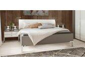 Bett in Grau 180x200 cm mit Polster-Kopfteil - Evansville - Designerbett