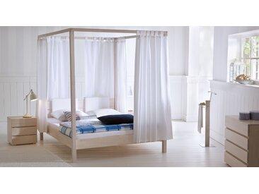 Himmelbett aus Holz Lorca - 140x200 cm - Buche weiß - BETTEN.de