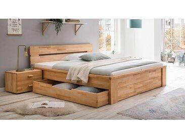 Kernbuchenbett 180x200 cm mit Stauraum in zwei Schubladen - Tamira - Stauraum-Bett