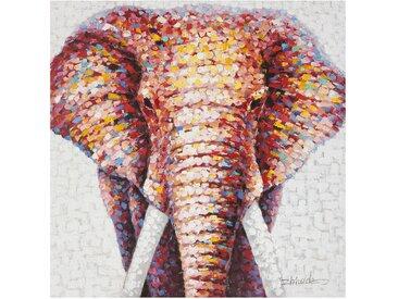 Farbenfrohes getupftes Wandbild 100x100 cm - Elephant - BETTEN.de