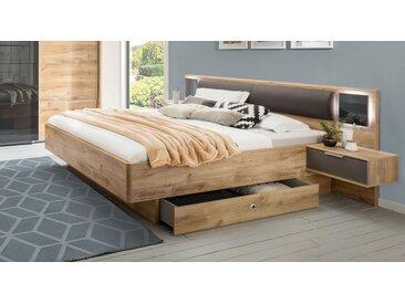 Schubkasten-Bett in Plankeneiche Dekor mit Kunstleder - Alwara - Designerbett