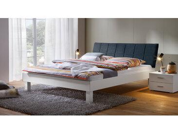 Dekorbett mit gestepptem Stoff-Kopfteil Sierra - 140x200 cm - weiß - Designerbett