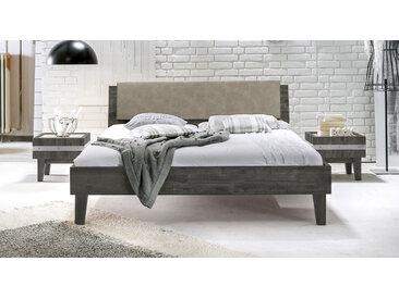 Holzbett Paraiso - 140x200 cm - Akazie grau - ohne Metall-Beschläge - Massivholzbett