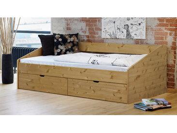Bett mit Bettkasten - 90x200 cm - Kiefer gelaugt geölt - Funktionsbett Dänemark - Stauraum-Bett
