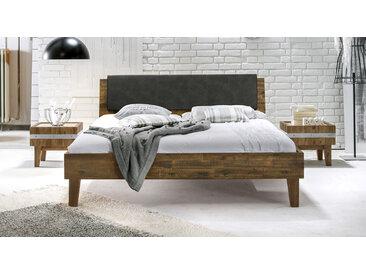 Holzbett Paraiso - 140x210 cm - Akazie braun - ohne Metall-Beschläge - Massivholzbett