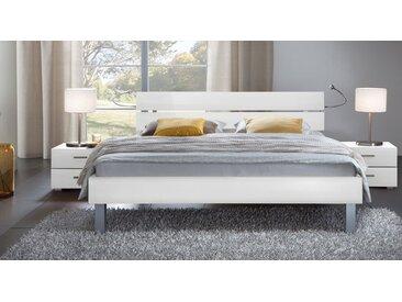 Dekorbett Belluno - 140x200 cm - weiß - Fußhöhe 20 cm - Designerbett
