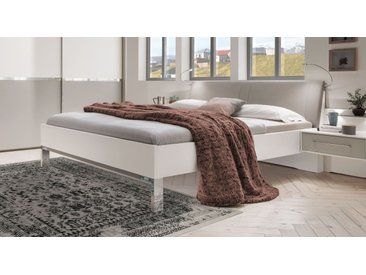 Weißes Bett 180x200 cm mit grauem Kunstleder-Kopfteil - Tulsa - Designerbett