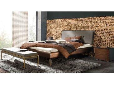 Bett 140x200 cm im Art Déco Look mit amberfarbenem Rahmen - Sirone - Designerbett
