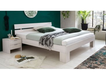 Weißes Bett 140x200 cm aus massiver Kernbuche - Tanu - Massivholzbett