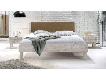 Holzbett Paraiso - 140x200 cm - Akazie weiß - ohne Metall-Beschläge - Massivholzbett