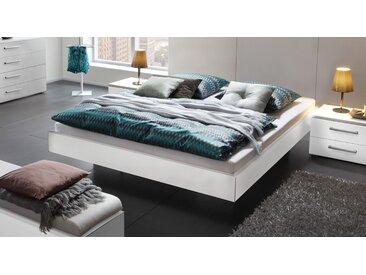Moderne Liege in schwebender Optik 140x200 cm weiß - Cesena - Designerbett