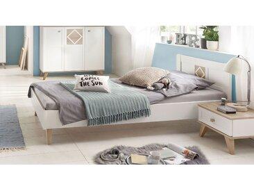 Modernes alpinweißes Bett mit Retro-Charme 120x200 cm - Atina - Designerbett