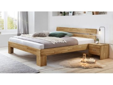 Vollmassives Bett 200x200 cm Wildeiche mit Latten-Kopfteil - Kanata - Massivholzbett