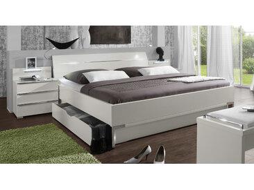 Doppelbett mit Schubkasten - 140x200 cm - weiß - Funktionsbett Salford - Stauraum-Bett