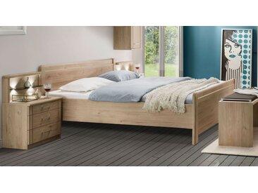 Komfortbett 200x200 cm in Steineiche Dekor mit Schubkästen - Telford - Designerbett