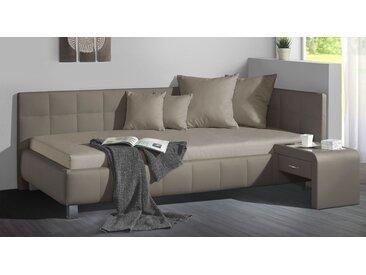 Studioliege 90x200 cm taupe mit großem Bettkasten - Nuca - Polsterliege