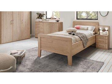 Komfort-Einzelbett 100x200 cm in Dekor mit Holz-Kopfteil - Herdorf - Seniorenbett