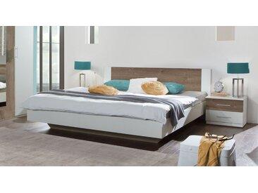 Weißes Schwebebett in 180x200 cm mit Schlammeiche Dekor - Kenva - Designerbett