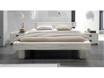 Ehebett Buena - 200x200 cm - Akazie weiß - Fußhöhe 25 cm - Massivholzbett