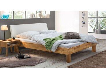 Kernbuche-Bett 140x200 cm FSC®-zertifiziert mit Kunstleder - Chatenay - Massivholzbett