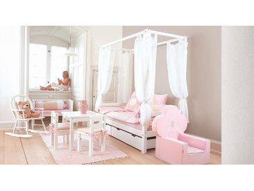 Himmelbett weiß aus massiver Kiefer 90x200 cm - Kids Heaven - Kinderbett