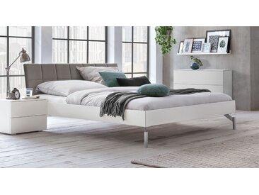 Stabiles Bett 160x200 cm in Weiß mit Samt-Kopfteil - Akuma - Designerbett