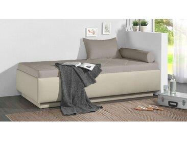 Relaxliege in Kunstleder beige mit Bettkasten 90x200 cm - Eriko - Polsterliege