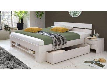 Weißes Schubkasten-Bett 180x200 cm aus Kernbuche mit Regalfach - Valor - Massivholzbett