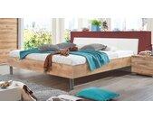 Bett 160x200 cm in Plankeneiche Dekor mit weißem Kopfteil - Loano - Designerbett
