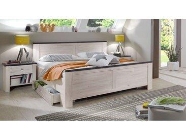 Schubkastenbett 180x200 cm aus Weißeiche im Modern-Country-Look - Grom - Stauraum-Bett
