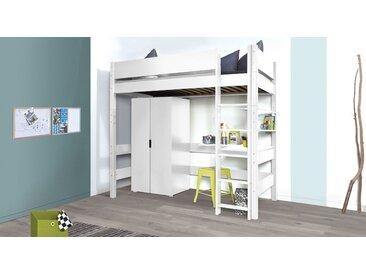 Hochbett für Jugendliche & Studenten  weiß - Kids Town - Kinderbett