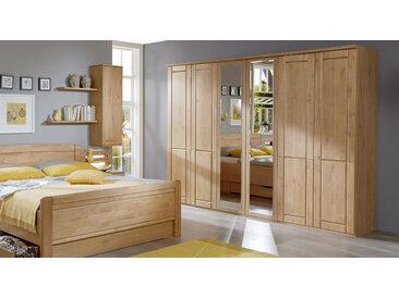 Schlafzimmerschrank in Erle natur mit Spiegel, 4-türig - Trikomo - Schrank