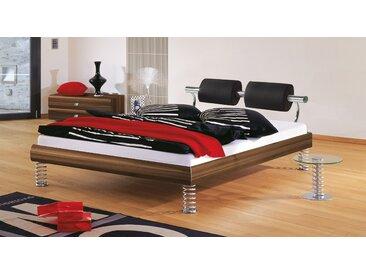 Designerbett mit Sprungfeder-Füßen - 140x200 cm - Nussbaum natur - Bett Elastic - BETTEN.de