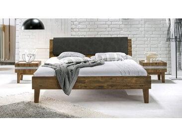 Holzbett Paraiso - 140x200 cm - Akazie braun - ohne Metall-Beschläge - Massivholzbett
