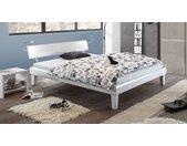 Preiswertes weißes Bett 140x200 cm mit stabilen Holzfüßen - Whiteway - Designerbett
