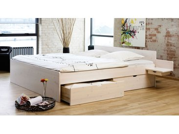Bett mit Bettkasten - 180x200 cm - weiß mit Holzstruktur - Schubkastenbett Norwegen - Stauraum-Bett