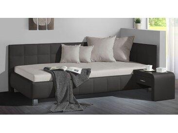 Studioliege 90x200 cm anthrazit mit großem Bettkasten - Nuca - Polsterliege