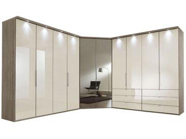 Begehbarer Eckkleiderschrank Magnolie & Schubladen Höhe 216  cm - Tiko - Eck-Kleiderschrank