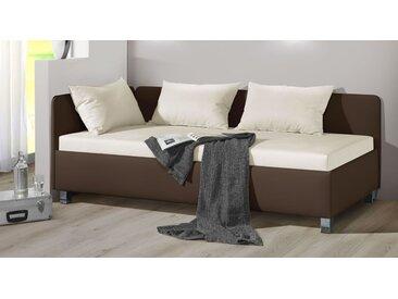 Studioliege mit Bettkasten in 90x200 cm rot - Lisala - Polsterliege