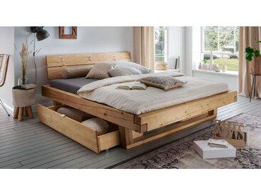 Schubkasten-Balkenbett 180x200 cm aus Fichte mit Maserung - Barup - Massivholzbett