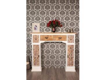 Große Kaminkonsole weiß braun mit Schubladen  -  indoor