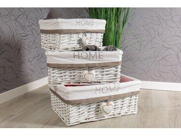 Korb Set weiß aus Weide  -  indoor