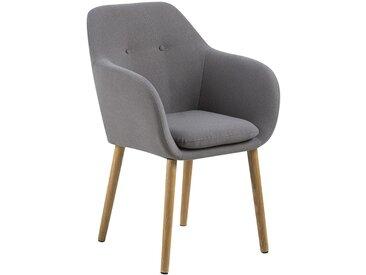 AC Design Emilia Armlehnstuhl 57x59x83cm Hellgrau/Eiche Hellgrau