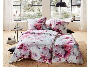 Mako Satin Blumen Bettwäsche Magnolie rosa türkis 135x200